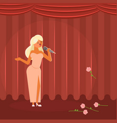 Woman singing on stage flat vector