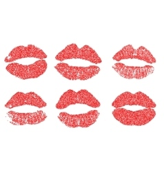 Womans lip dotted set Girl mouths close up with vector image