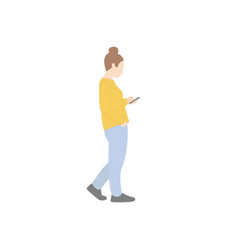 young woman goes looking at smartphone vector image