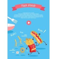 Fast food cartoon characters banner vector