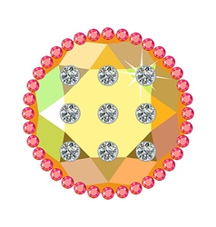 Golden button with rubies and diamonds vector image vector image