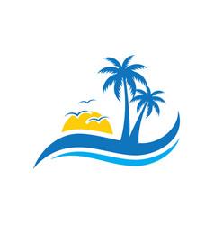 Palm wave sunset travel logo vector
