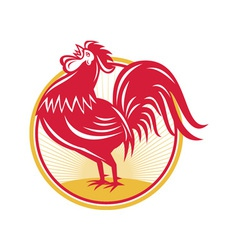 Rooster cockerel crowing retro vector
