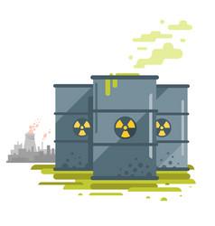 barrels of toxic waste vector image