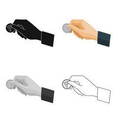 Hand holding coin for parking meter icon in vector