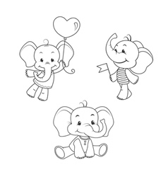 Baby elephant outline characters set vector image vector image