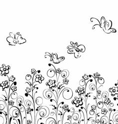 butterfly's and flowers vector image vector image