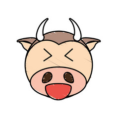 cute cow drawing animal vector image