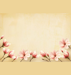 frame made out of magnolia flowers vector image vector image
