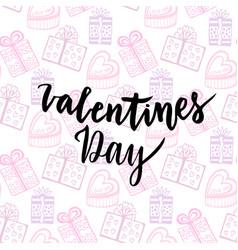 happy valentines day card handwritten design vector image vector image