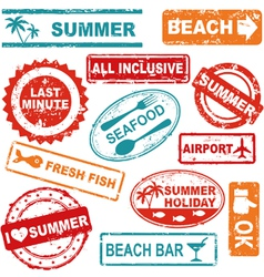 Summer rubber stamp collection vector image vector image