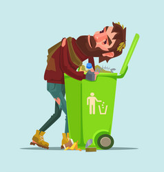unemployed homeless man look for food trash can vector image