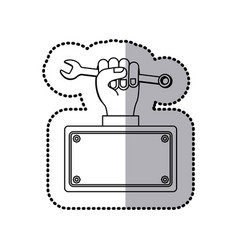 wrench in the hand icon stock vector image vector image