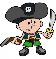 Boy in pirate costume vector