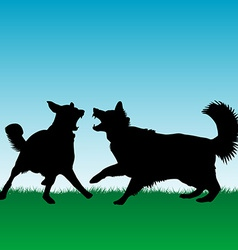 Dogs fighting or playing outdoors vector