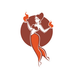 Indian girl dancing with fire image for your vector