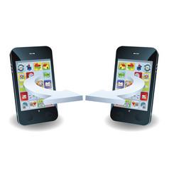 smartphones communicating vector image vector image