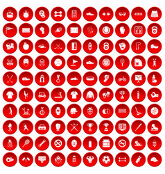100 sport equipment icons set red vector image