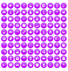 100 tea party icons set purple vector image