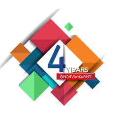 4 years anniversary design colorful square style vector