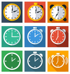 9 flat icons time vector image