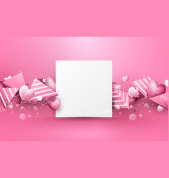 abstract pink 3d polygons and hearts rough stripes vector image