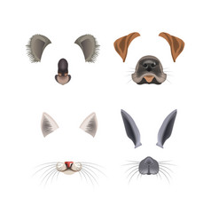 Animal face filter template video chat photo vector