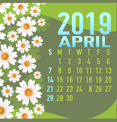 april 2019 calendar template with abstract vector image