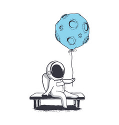 Astronaut keeps moon who like a balloon vector