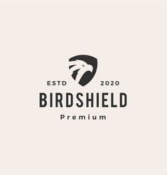 bird shield hipster vintage logo icon vector image