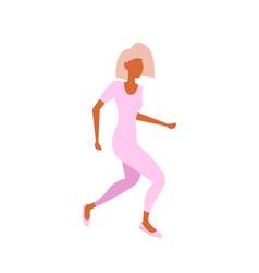 blonde businesswoman running pose fashion style vector image