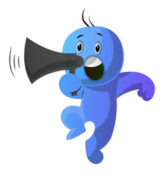 blue cartoon caracter holding a speakephone on vector image