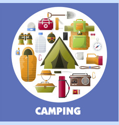 Camping equipment for hiking lovers inside circle vector