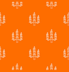 Candelabra candle pattern orange vector