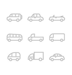 car transport icon set vector image