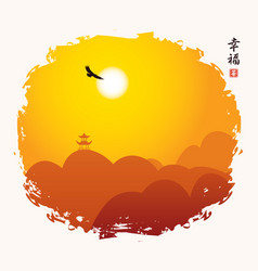 Chinese mountain landscape with pagoda and eagle vector