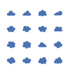 cloud flat glyph icons cloudssilhouette symbols vector image
