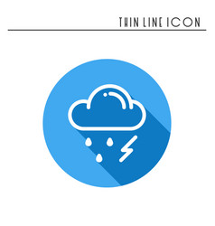 Cloud sky rain storm line simple icon weather vector