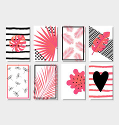 collection of cute pink abstract summer cards vector image