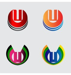 Collection of Letter U logo symbols vector