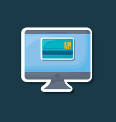computer and credit card icon vector image