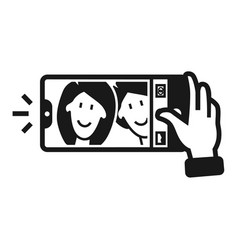 couple taking selfie icon simple style vector image