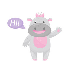 cute adorable hippo with a pink bow saying hi and vector image