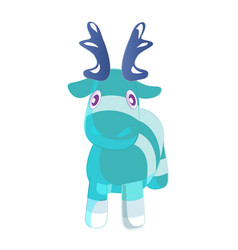 cute blue cartoon reindeer toy funny character vector image