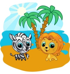 cute lion and zebra vector image