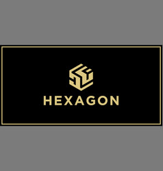 df hexagon logo vector image