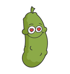 Dill pickle cartoon in love vector