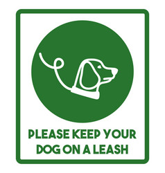 dog on a leash sign vector image