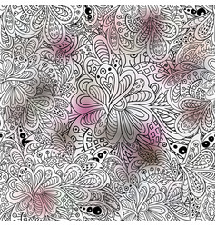 Doodle floral seamless pattern pink and gray vector