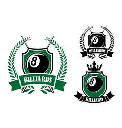 Eight ball billiards or pool emblem vector